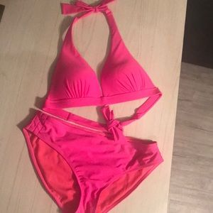 Hot pink halter top bikini